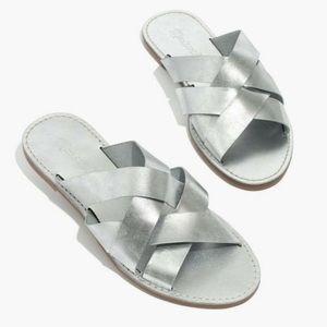 MADEWELL boardwalk woven slide metallic sandals